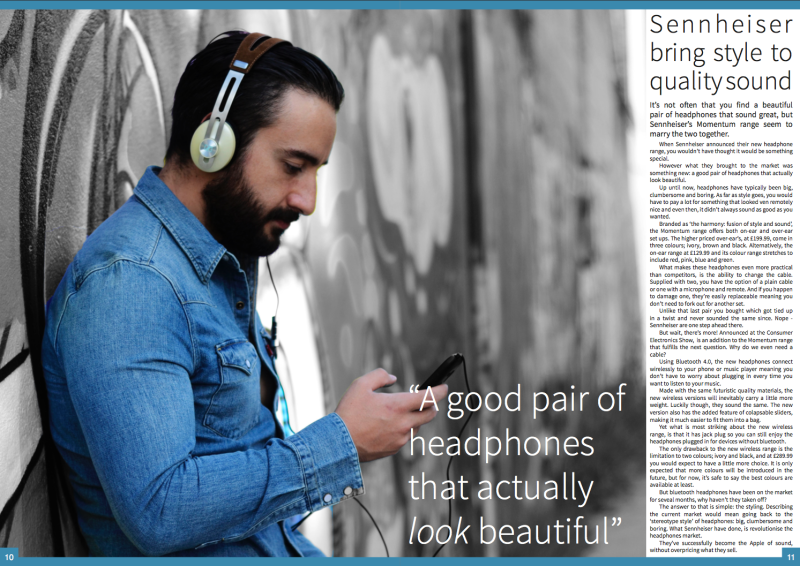 FOUR:Magazine, page 10/11, my review on Sennheiser headphones