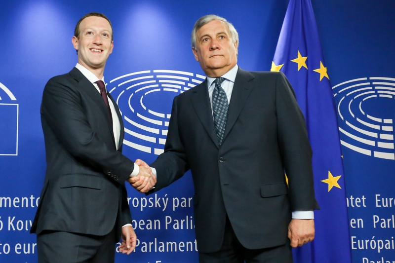 The President of the European Parliament, Antonio Tajani, meets with Mark Zuckerberg, Facebook's CEO.