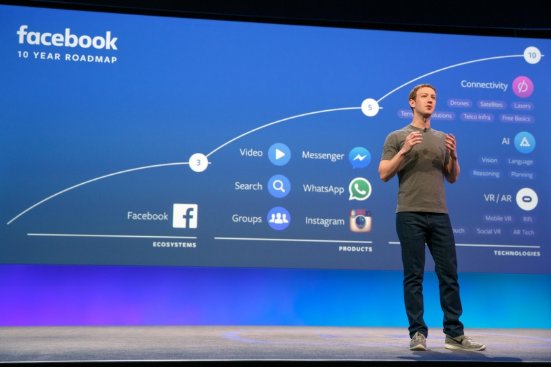 Facebook CEO Mark Zuckerberg speaking at F8 2016.
